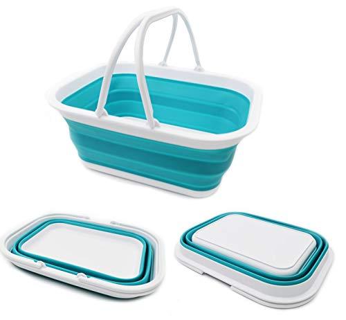 SAMMART 15.5L (4.1Gallon) Faltbare Wanne mit Griff - Tragbarer Picknickkorb/Krater - Faltbare Einkaufstasche - Platzsparender Aufbewahrungsbehälter (Hellblau)