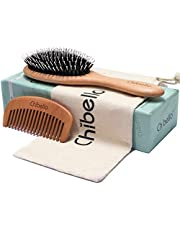 Boar Bristle Hair Brush Set for Thick and Normal Hair. Hand Polished Natural Wood Handle for a Refined Look and Feel. Restore Healthy Shine, Improve Growth, Reduce Breakage