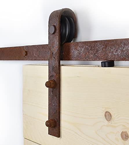 Barnwoodweb Système de porte coulissante Droit rouille 200cm Ferrure de porte coulissante Droit rouille Ensemble complet pour une porte coulissante