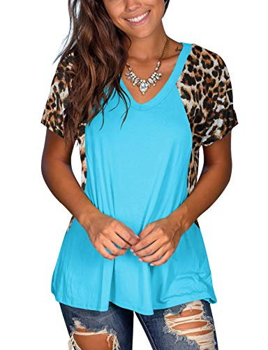 Women's Casual Short Sleeve Tops Leopard Print V-Neck T-Shirt $6.80 (60% Off at checkout)