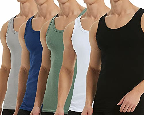 Falechay Camiseta Tirantes para Hombre Pack de 5 de Algodón 100% Camisetas Interiores Deporte más Colores Negro Blanco Gris Azul Marino Olive L