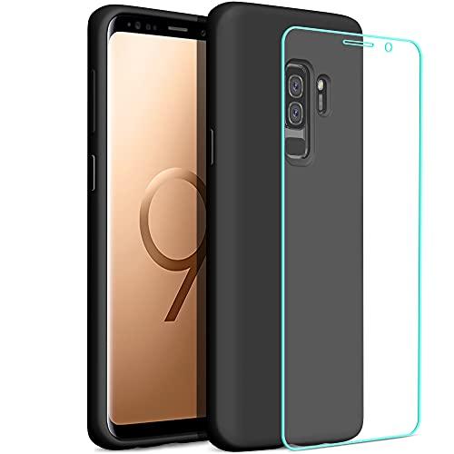 YATWIN Compatibile con Cover Samsung Galaxy S9 Plus 6,2'' + 1 Pezzi Pellicola Protettiva, Cover Samsung S9 Plus Case Silicone Liquido, Protezione Completa del Corpo con Fodera in Microfibra, Nero