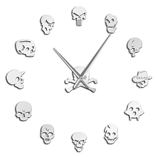 hufeng Reloj de Pared Diferentes Cabezas de Calavera DIY Horror Arte de Pared Reloj de Pared Gigante Aguja Grande Cabezas de Zombies sin Marco Reloj de Pared Grande Decoración de Halloween Plata
