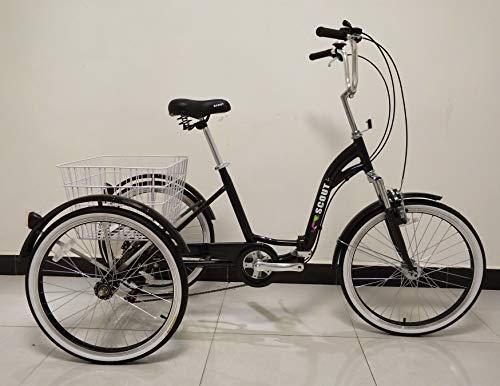Quality Dreirad für Erwachsene, Dreirad, Klapprahmen, 6-Gang-Shimano-Getriebe, Alurahmen, Vorderradaufhängung (Schwarz)