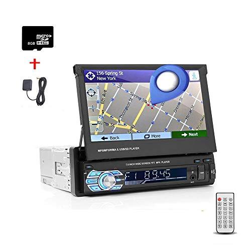 1 DIN Pantalla táctil de 7 Pulgadas Radio del Coche Reproductor estéreo Soporte USB retráctil Enlace Espejo para teléfono Android Bluetooth Navegación GPS Multimedia con cámara Trasera