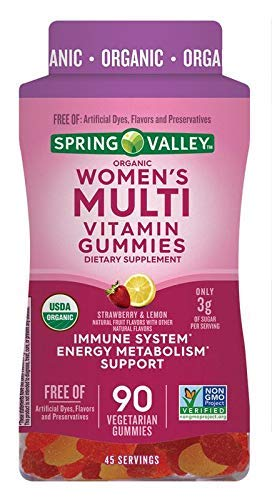 Spring Valley Organic Women's Multi Vitamin, Strawberry & Lemon, 90 Gummies