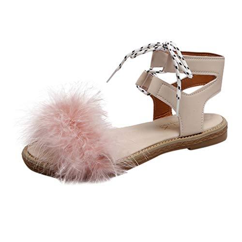 TIFIY Damen Sandalen Damenmode Roman Women Summer Flache Sohlen Sandalen Strap-On Schuhe Wild Raus Strand Party Täglich Schuhe 36 Pink
