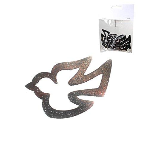 Streudeko Pigeons Argent, Bois, env. 2,5 x 6 cm, 12 St.