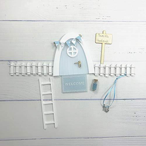 WEJUANR Zauberfee Tür Weihnachten Tür-Bogen Hand Made Nette Rosa Fee Tür Mauseloch DIY-Fee-Garten Zahn-Fee Tür Geburtstags-Geschenke (Color : Baby Blue Set 1)