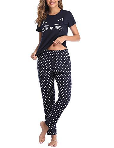 EISHOPEER Women's Pajama Set Cute Printed Soft Top and Pants Sleepwear Pjs Sets