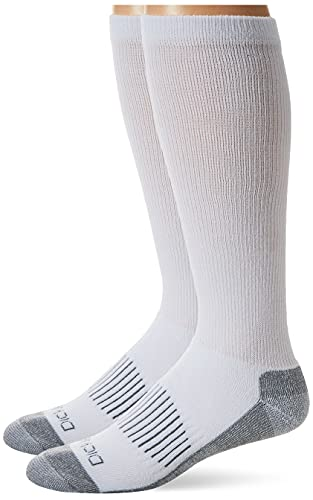 Dickies Men's Light Comfort Compression Over-The-Calf Socks, White (2 Pairs), Shoe Size:...