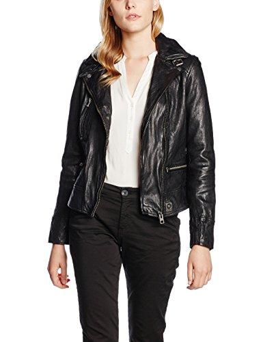 Oakwood Damen Jacke Echtleder 62065, Schwarz-Schwarz, Herstellergröße: XL
