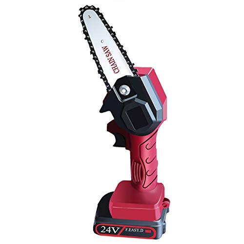 DJXLMN Mini Motosierra eléctrica inalámbrica, hogar portátil de 4 Pulgadas, Motosierra con batería Recargable, para podar Madera,Rojo