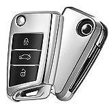 OATSBASF Funda para Llave VW, Funda Llave VW Golf 7-3 Botones para Coche VW MK7 Seat Skoda...