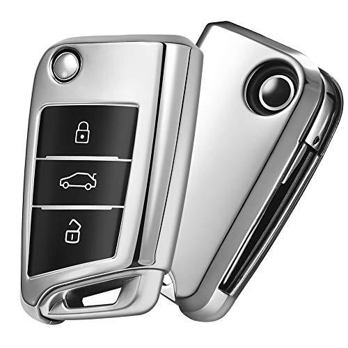 OATSBASF Autoschlüssel Hülle VW,VW Golf 7 Schlüsselbox,Schlüsselhülle Cover für VW Polo Skoda Seat 3-Tasten (Silber)