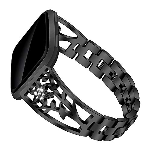 Versa Lite Bling Bands Compatible with Fitbit for Women Fashion Stainless Steel Bling Bracelet with Rhinestone Metal Wristbands Versa 2Versa Band Black