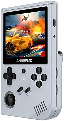 Anbernic RG351V Console Giochi, 64GB Retro Console Portatile Giochi con 2500 Giochi Supporta PSP/NDS/DC,RK3326 Open Source Linux Sistema 1.5GHz,Console per Videogiochi Retrò 3,5'IPS (Gray)