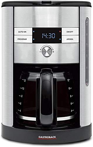Gastroback 42704 Design Coffee Pro, Kaffeeautomat für 12 Tassen, 24 Stunden Einschalttimer Aroma-Funktion, 950 Watt, Kunststoff, silber