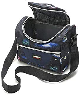 SANNE Printed Tote Lunch Bag with Pockets for Shool/Work/Picnic/Kids/Women/Girls Insulated Cooler Lunch Boxs Adjustable Shoulder Strap Double-Layer Medium Lunch Packs(Black)