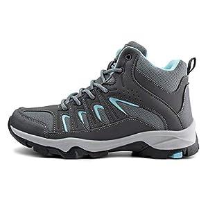 JABASIC Womens Mid Hiking Boots Lightweight Outdoor Trekking Shoes (9,Grey/Blue)