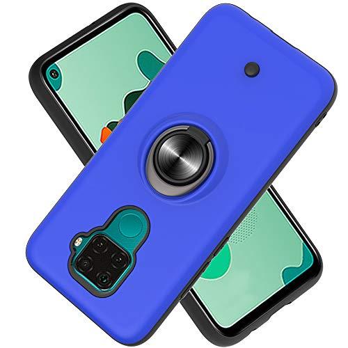 FAWUMAN Coque Huawei Mate 30 Lite/Nova 5i Pro/Nova 5Z,Bouton de décompression,Gyroscope Rotatif,PC + TPU Housse résistant aux Chocs avec Support à Anneau Rotatif à 360 degrés -Bleu Marin