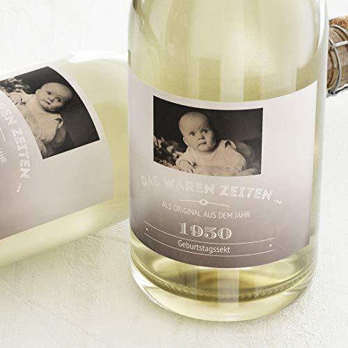 sendmoments Etiketten für Flaschen, Old Times, Sticker, selbstklebend, praktisch, individuell mit Text & persönlichem Foto zum Geburtstag, für Sektflaschen, als Tischdekoration Querformat, ab 10 Stück