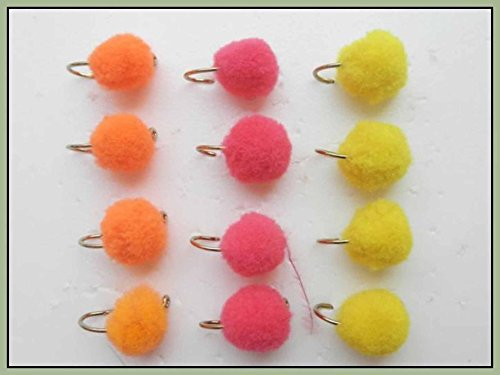 Egg Fishing flies 12 Pack Pink Orange Yellow Trout or Salmon Mixed 810