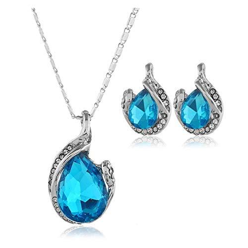 LPZW Pendientes Coreanos Accesorios Accesorios Nuevo Cristal Lágrimas de Belleza Goteo Juego de Joyas Set de Novia Conjunto Accesorios Conjunto Europa y Belleza (Color : Sky Blue)
