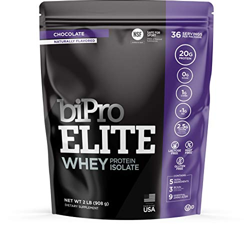 BiPro Elite 100% Whey Isolate Protein Powder, Chocolate 2 Pounds - NSF Certified for Sport, Sugar Free, Lactose Free, Gluten Free, Contains Natural Sweeteners