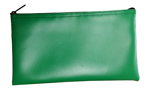 Cardinal Bag Supplies Vinyl Zipper Bags Leatherette 11 x 6 inches Small Compact Kelly Green 1 Zippered Pouch CW