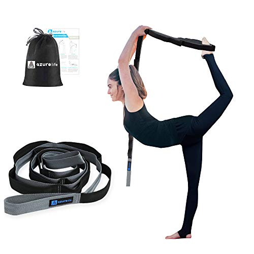 A AZURELIFE Premium Stretch Strap/Yoga Strap(1.5' W x 96' L), 12 Loops Non-Elastic Yoga Strap for Stretching, Perfect Multi-Loop Fitness Stretch Band for Physical Therapy, Yoga, Pilates&Dance