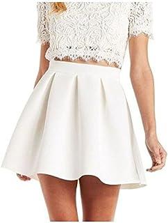 MAGNA Women's Skater Skirt (White,Small)