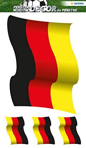 Herma 3187 Raamsticker, Duitse vlag, 1 vel met 4 stickers voor het raam, zelfklevend, verwijderbaar zonder lijmresten, zichtbaar van binnen en buiten