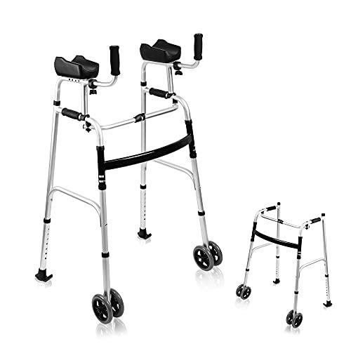 AHB Folding Walker with 4 Wheels and Arm Rest Pad, Lightweight Standard Walker Height Adjustable Rolling Walker Walking Mobility Aid for Elderly, FDA Certification