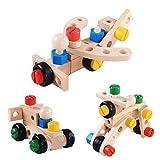 Costruzioni Giocattolo kit set legno Giochi fai da te attrezzi Colorati blocchi accessori scatola creativo. Bambini Educativo prescolare mattoncini avvita montare noci e bulloni cacciaviti set 3 anni