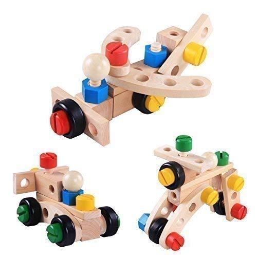 Construction Jeux Bois Formes Bricolage Outils constructions couleursen Montessori pour Bebe Enfants 3 Ans Garcon et Filles bébés. Jouets creatif educatif. kit de Assemblage Bloc Ensemble différent