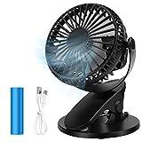 Ventilador USB de Escritorio, Mini Ventilador de Mesa con Clip con 3 Velocidades, Rotación de 360 ° Ventilador de Refrigeración Portátil Recargable para Cochecito de Bebé, Hogar, Oficina, Gimnasio