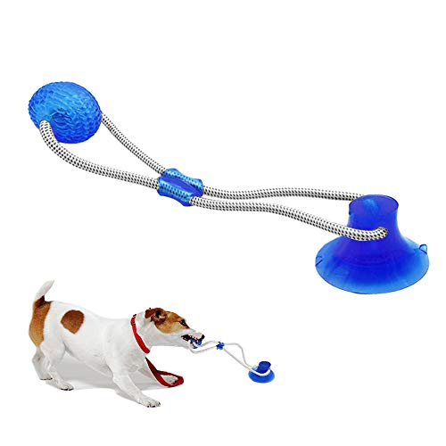 Pet Chew Ball Toy Dog Ropes Toy, Multifunction Interactive Ropes Toys with Suction Cup, Teeth Cleaning Ball (Blue)