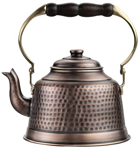 DEMMEX 100% Handcrafted Heavy Gauge 1mm Thick Hammered Antique Solid Copper Tea Kettle Pot Stovetop Teapot, 2.5lb, 2 Quarts