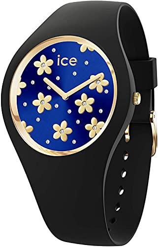 ICE-WATCH ICE Flower Precious Deep Blue - Reloj Negro para Mujer con Correa de Silicona, 017579 (Medium)