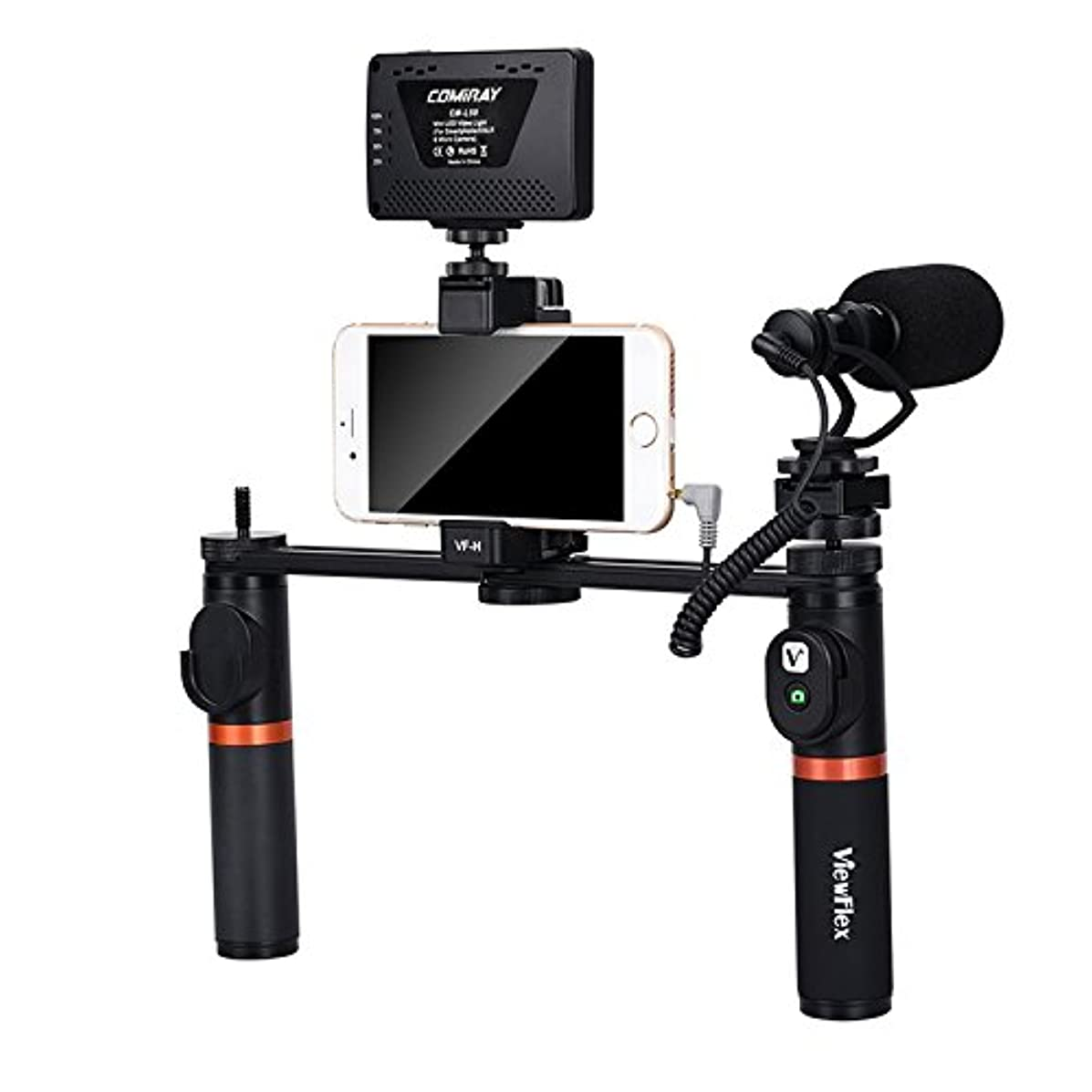 RISHIL WORLD VF-H7 Bluetooth Electronic Video Grip Stabilizer with LED Light Microphone Remote Control