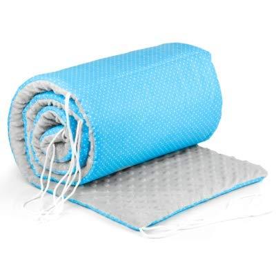 Paracolpi lettino 4 lati imbottito - paracolpi Culla neonato per Letto Bebè (Blu bianco COTONE + MINKY grigio, 420 x 30 cm)