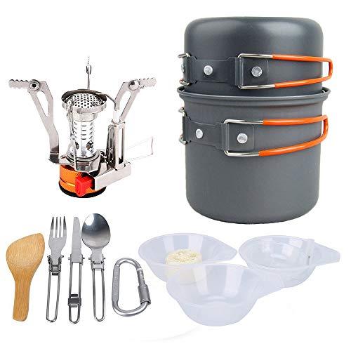 KADDGN Ustensiles de Mess Kit Camping Pot de Vaisselle pour 2-3 Personne Acier Inoxydable en Alliage d'aluminium extérieur Randonnée Camping,A