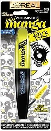 LOreal Paris Voluminous Miss Manga Rock Waterproof Mascara, 389 Blackest Black (Pack
