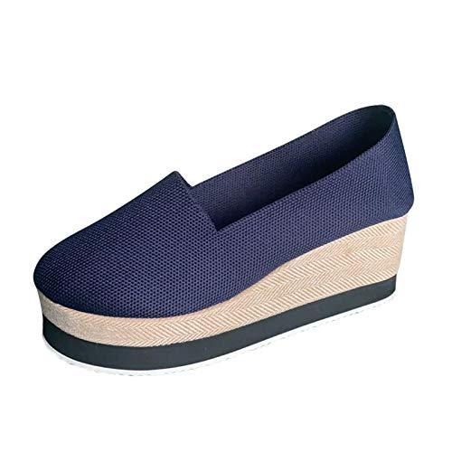 Geilisungren Plateau Turnschuhe Damen Low Top Mädchen Geschlossene Flache Schuhe Plattform Loafers Keilabsatz Sommerschuhe Canvas Schuhe Freizeitschuhe Slip On Walkingschuhe