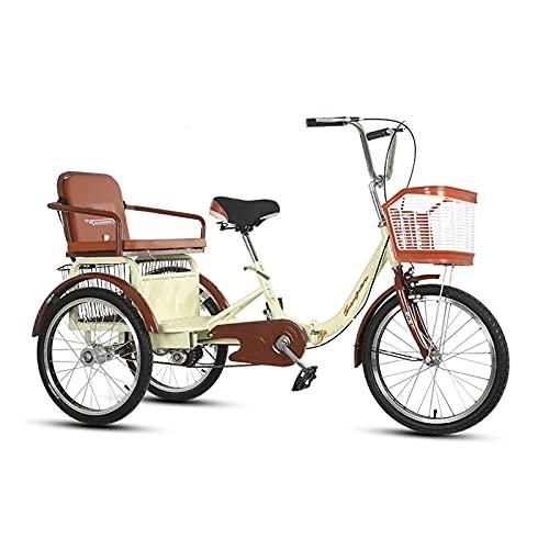 Triciclo para adultos Triciclos Adultos 3 Rueda 20in Three Wheel Cruiser Bike Deportes Al Aire Libre Con Cesta De Compras Y Asiento Trasero, Para Personas Mayores, Mujeres, Hombres, Color(Color:Beige)