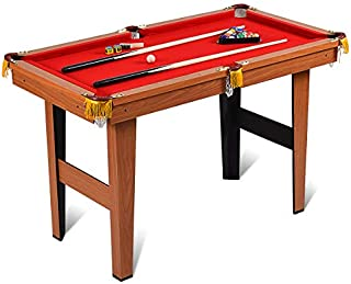 Costzon 4-Foot Billiard Table, Pool Game Table Includes Cues, Ball, Chalk, Rack, Brush for Kids (Brown & Red)