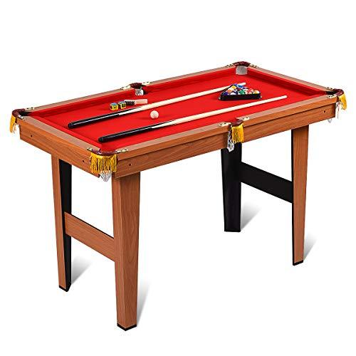 COSTWAY 4 ft Billardtisch mit 2 Queues und 16 Kugeln, Billard-Spiel Tischbillard für Kinder, Familienspiele, Camping, Partys 122x65,6x76cm