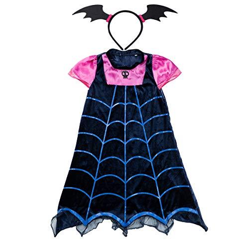 Lee Little Angel Chica Vampiro Historieta Princesa Falda y Tocado Adecuado para Halloween Falda Carnaval (140#(8-9 años de Edad), Vampiro)