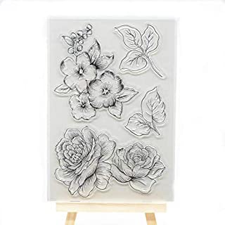 Welcome to Joyful Home 1pc Flower Rubber Clear Stamp for Card Making Decoration and Scrapbooking
